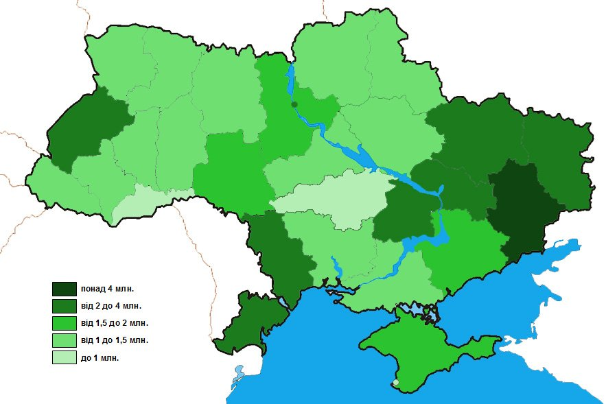 Густонаселенность Украины - карта