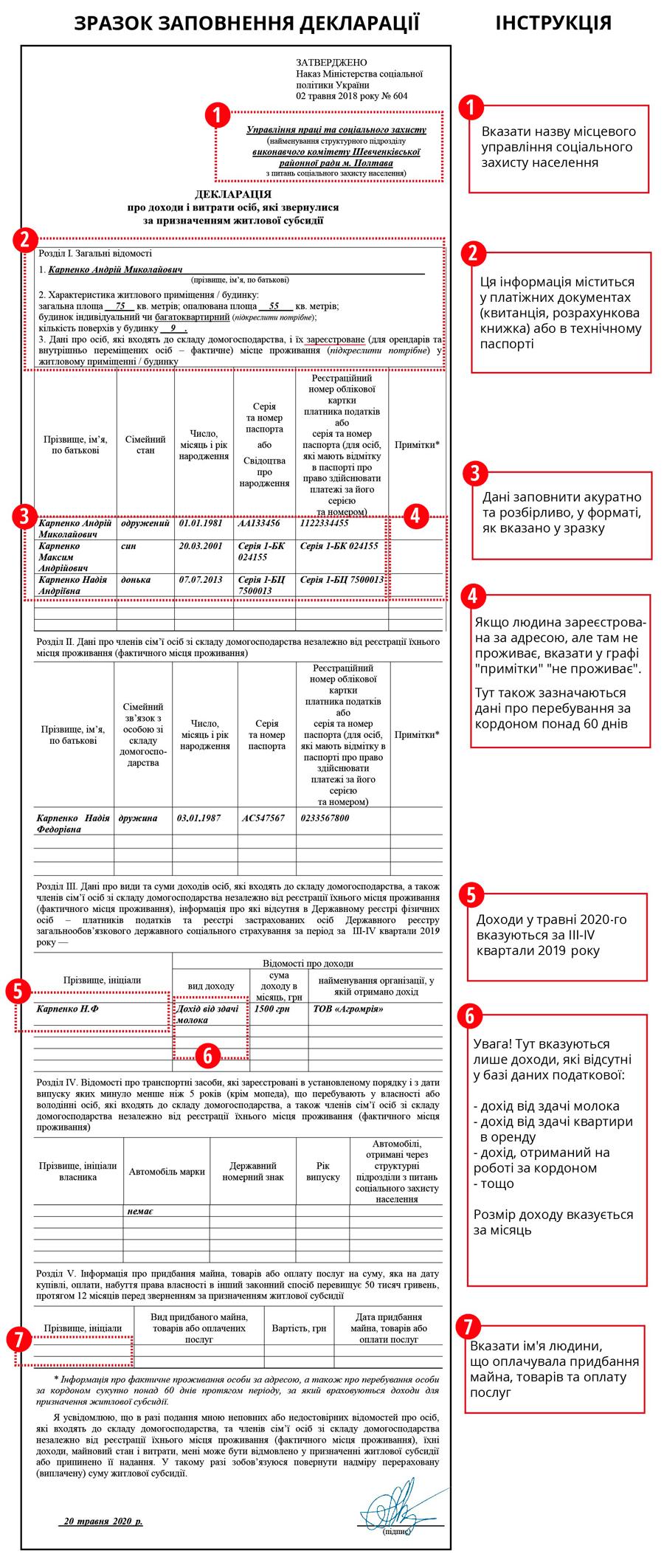Пример заполнения декларации на субсидию