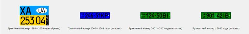Возможные буквенные сочетания в автономерах